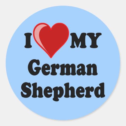 I Love (Heart) My German Shepherd Dog Round Sticker