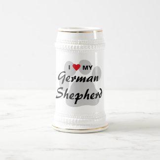 I Love (Heart) My German Shepherd Pawprint Beer Steins