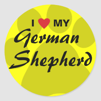 I Love (Heart) My German Shepherd Pawprint Classic Round Sticker