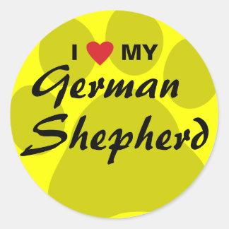 I Love (Heart) My German Shepherd Pawprint Stickers