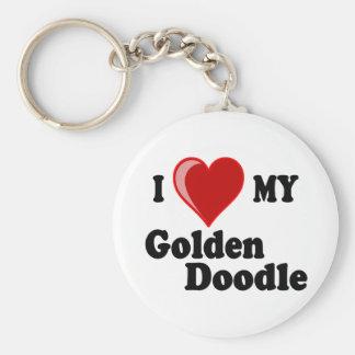 I Love (Heart) My Golden Doodle Dog Key Ring