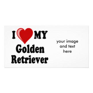 I Love (Heart) My Golden Retriever Dog Customised Photo Card