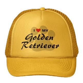 I Love (Heart) My Golden Retriever Pawprint Cap
