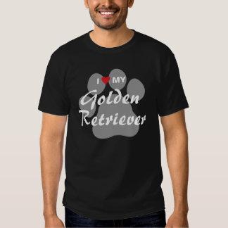 I Love (Heart) My Golden Retriever Pawprint Tee Shirts