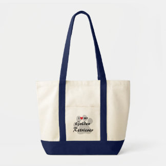 I Love (Heart) My Golden Retriever Pawprint Tote Bag