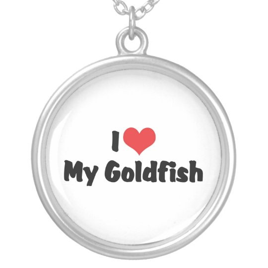 I Love Heart My Goldfish - Aquarium Fish Lover Silver Plated Necklace