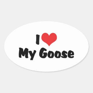 I Love Heart My Goose - Bird Lover Oval Sticker