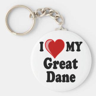 I Love (Heart) My Great Dane Dog Basic Round Button Key Ring