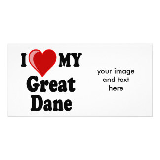 I Love Heart My Great Dane Dog Picture Card