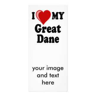 I Love (Heart) My Great Dane Dog Full Color Rack Card