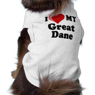 I Love (Heart) My Great Dane Dog Sleeveless Dog Shirt