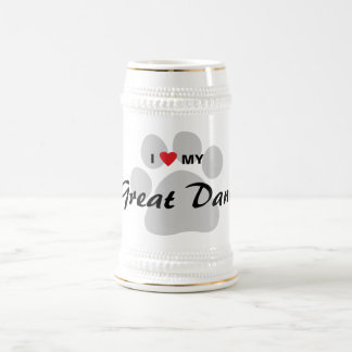 I Love (Heart) My Great Dane Pawprint Beer Stein