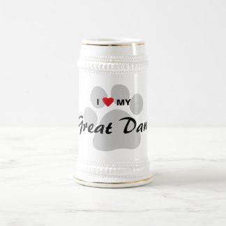 I Love (Heart) My Great Dane Pawprint Beer Steins