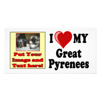 I Love Heart My Great Pyrenees Dog Personalized Photo Card