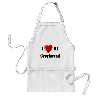 I Love (Heart) My Greyhound Dog Gifts Standard Apron