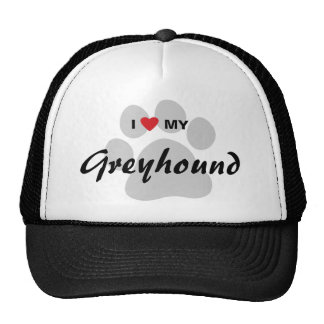 I Love (Heart) My Greyhound Paw Print Cap