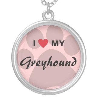 I Love (Heart) My Greyhound Paw Print Jewelry