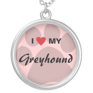I Love (Heart) My Greyhound Paw Print Round Pendant Necklace