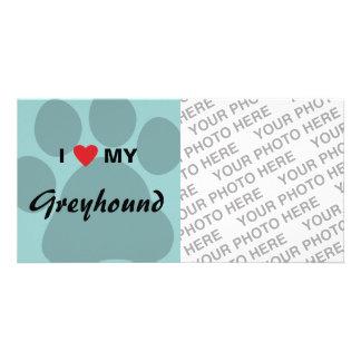 I Love (Heart) My Greyhound Paw Print Customized Photo Card