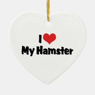 I Love Heart My Hamster Ceramic Heart Decoration