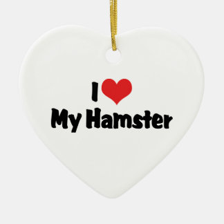 I Love Heart My Hamster Christmas Ornament