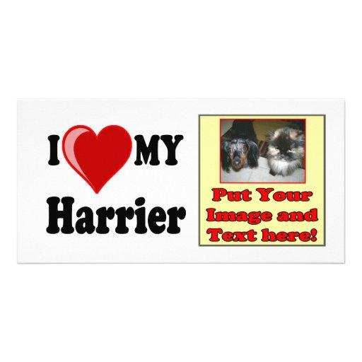 I Love (Heart) My Harrier Dog Custom Photo Card