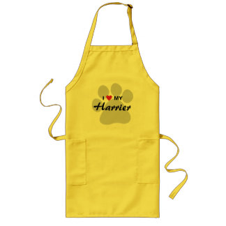 I Love (Heart) My Harrier Pawprint Long Apron