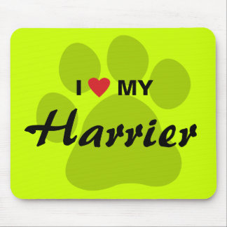 I Love (Heart) My Harrier Pawprint Mouse Pad
