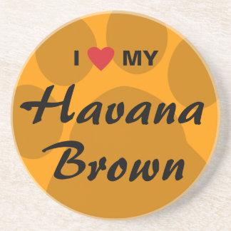I Love Heart My Havana Brown Pawprint Design Drink Coasters