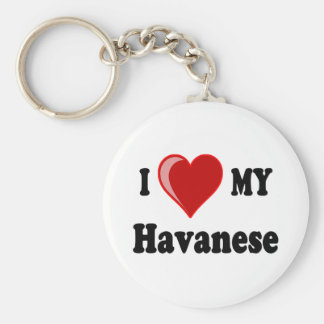 I Love (Heart) My Havanese Dog Key Ring