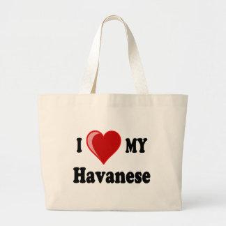 I Love (Heart) My Havanese Dog Large Tote Bag