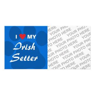 I Love Heart My Irish Setter Custom Photo Card