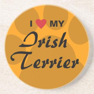 I Love (Heart) My Irish Terrier Drink Coasters