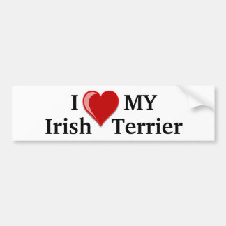 I Love (Heart) My Irish Terrier Dog Bumper Sticker