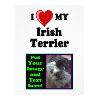 I Love (Heart) My Irish Terrier Dog Flyer Design