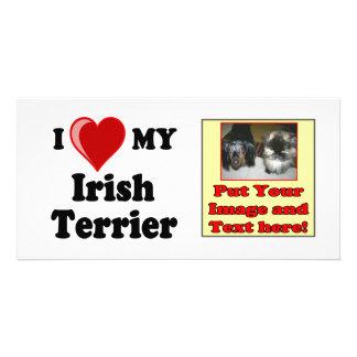 I Love (Heart) My Irish Terrier Dog Personalized Photo Card