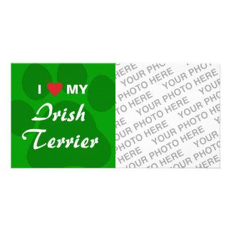 I Love Heart My Irish Terrier Customized Photo Card