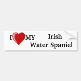 I Love (Heart) My Irish Water Spaniel Dog Bumper Sticker