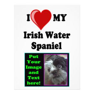 I Love (Heart) My Irish Water Spaniel Dog Personalized Flyer