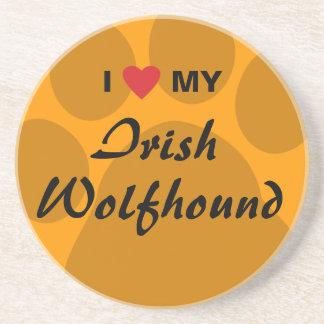 I Love (Heart) My Irish Wolfhound Beverage Coasters