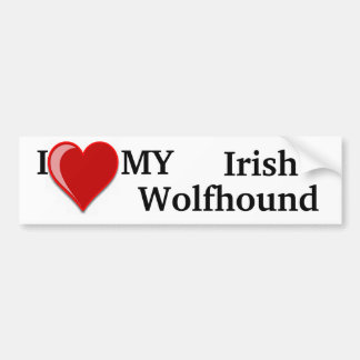 I Love (Heart) My Irish Wolfhound Dog Car Bumper Sticker