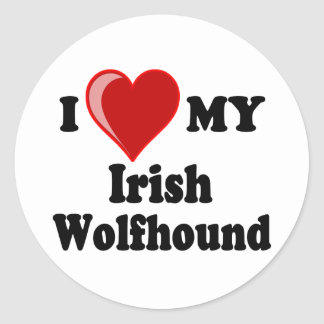I Love (Heart) My Irish Wolfhound Dog Classic Round Sticker