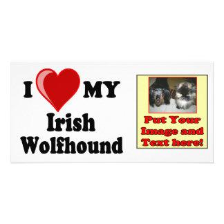 I Love (Heart) My Irish Wolfhound Dog Photo Greeting Card
