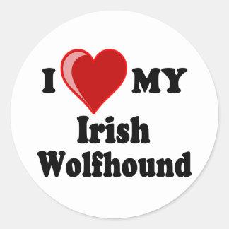 I Love (Heart) My Irish Wolfhound Dog Classic Round Sticker