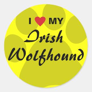 I Love (Heart) My Irish Wolfhound Round Sticker