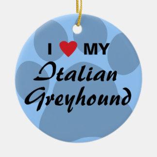 I Love (Heart) My Italian Greyhound Christmas Ornament
