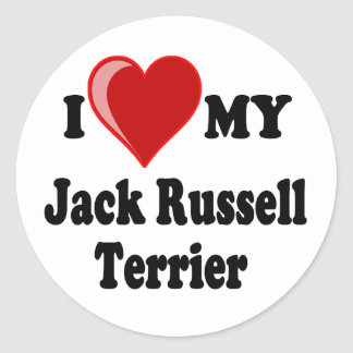 I Love (Heart) My Jack Russell Terrier Dog Classic Round Sticker