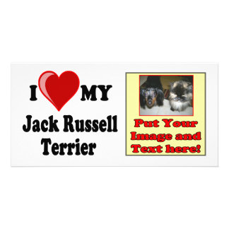 I Love Heart My Jack Russell Terrier Dog Customized Photo Card