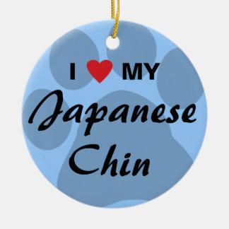 I Love (Heart) My Japanese Chin Ornaments