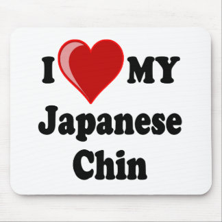 I Love (Heart) My Japanese Chin Dog Mouse Pad